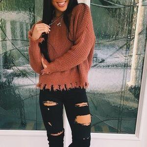 Sweaters - Rusty Frayed Hemline Knit Sweater
